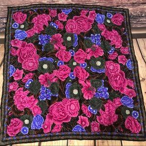 "Vintage 31"" Albert Nipon Square Silk Scarf Roses"